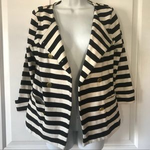 Forever 21 Ivory / Navy Striped Blazer Jacket L